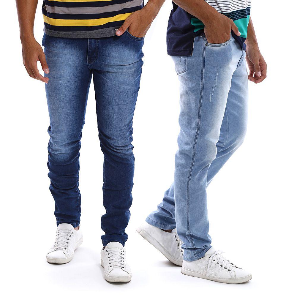 Kit com 2 Calças Jeans Masculinas Slim com Lycra Bamborra