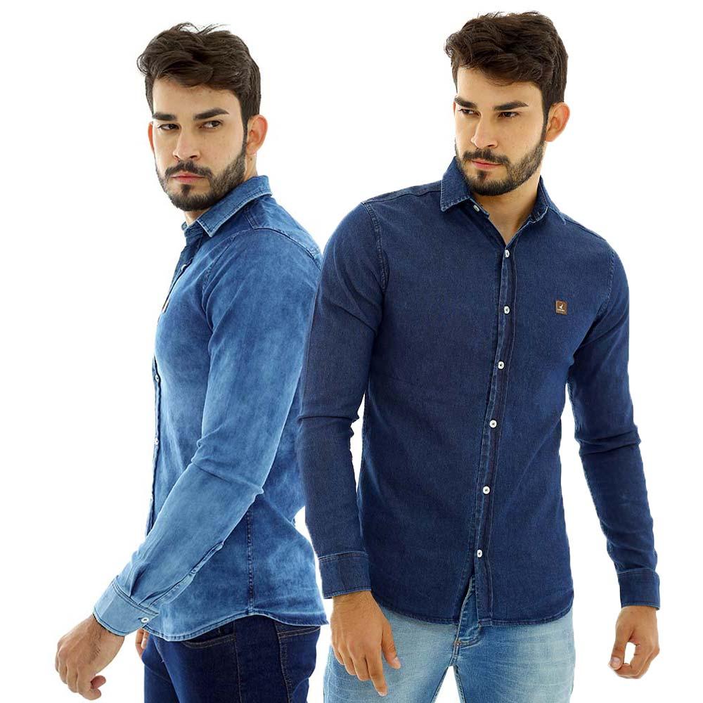 Kit Com 2 Camisas Jeans Masculinas Slim Manga Longa