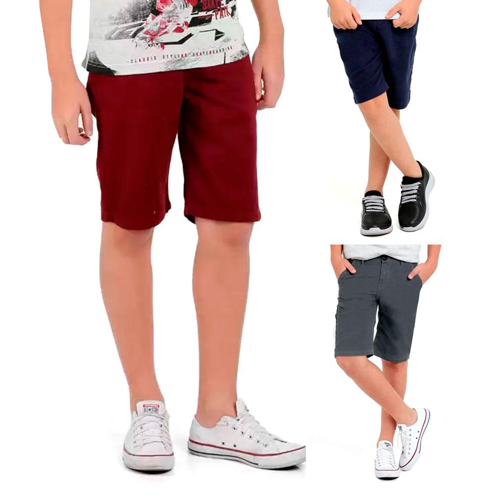 Kit Com 3 Bermudas de Sarja Para Meninos de 2 a 16 Anos