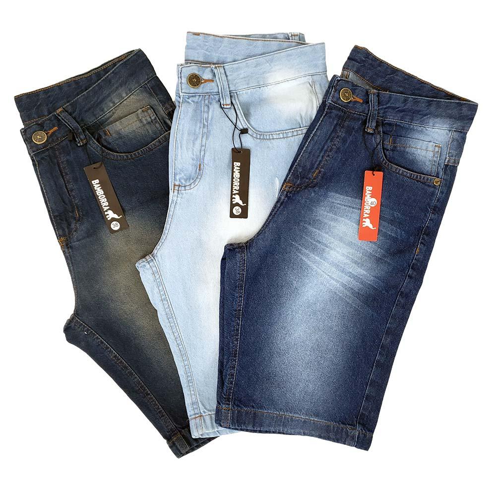 Kit Com 3 Bermudas Jeans Masculinas Baratas Bamborra