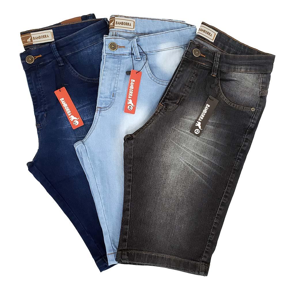 Kit Com 3 Bermudas Jeans Masculinas Slim Com Lycra Bamborra