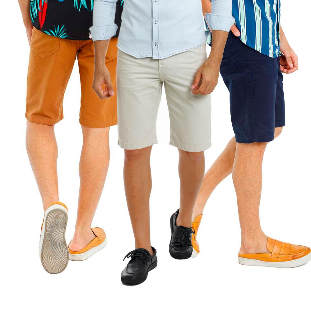 Kit Com 3 Bermudas Masculinas Sarja Coloridas Bamborra