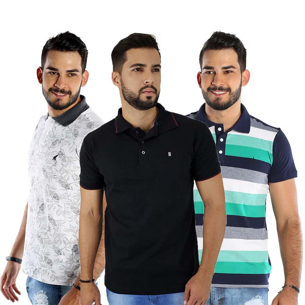 Kit com 3 Camisas Polo Masculinas Listradas Bamborra