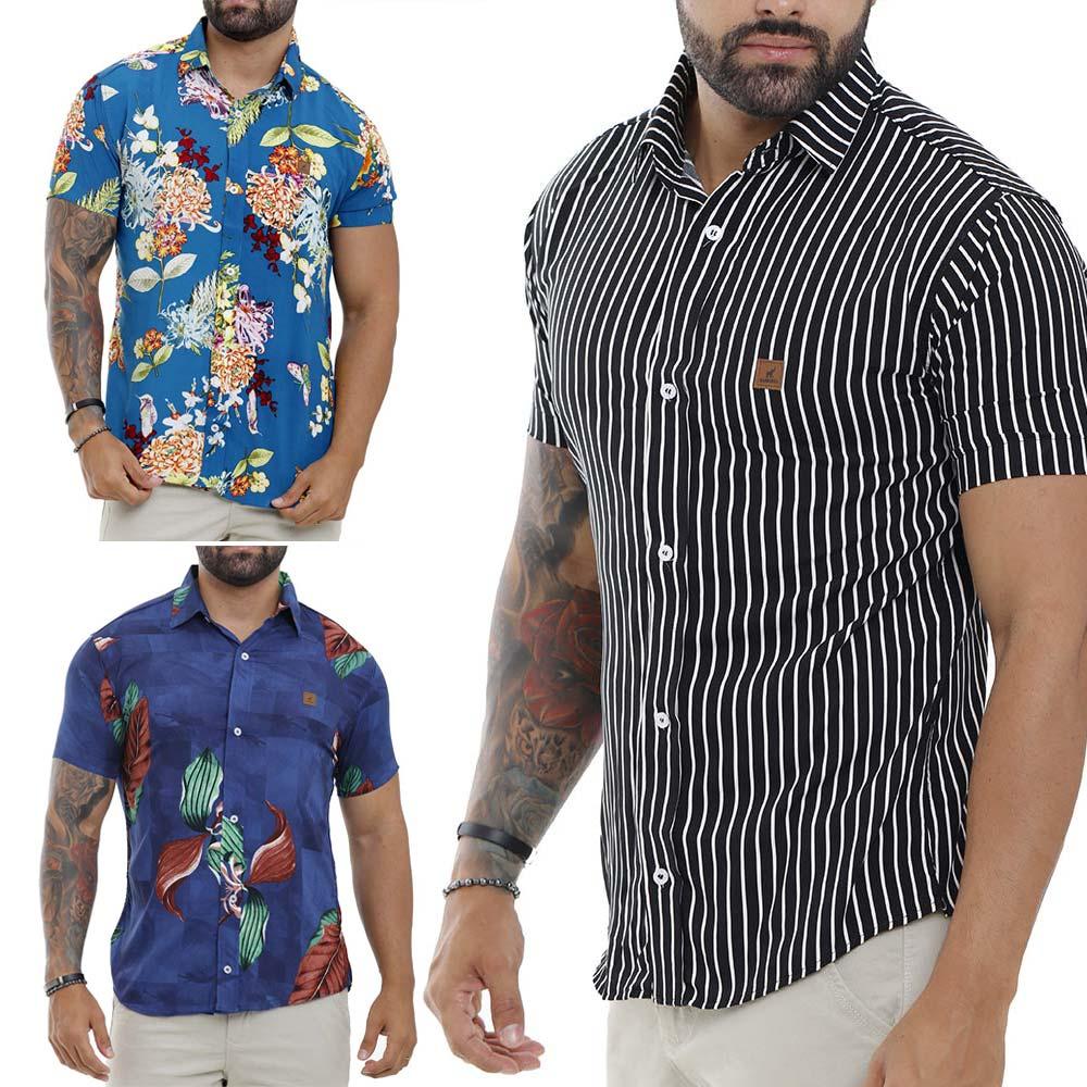Kit Com 3 Camisas Sociais Estampadas Masculinas