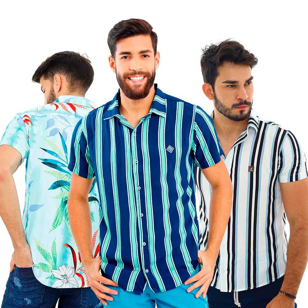 Kit Com 3 Camisas Sociais Masculinas Florais de Viscose
