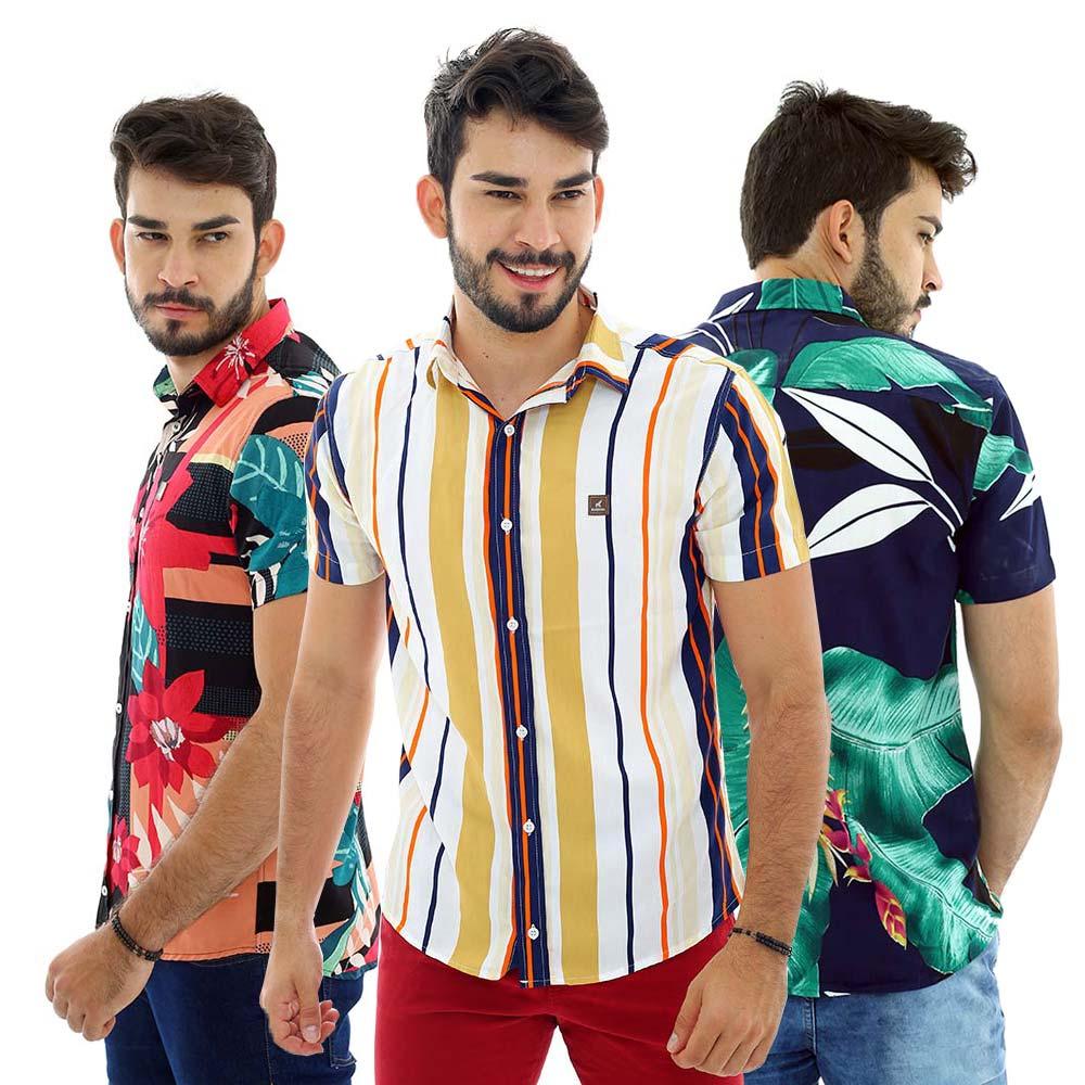 Kit Com 3 Camisas Sociais Masculinas Florais e Listradas