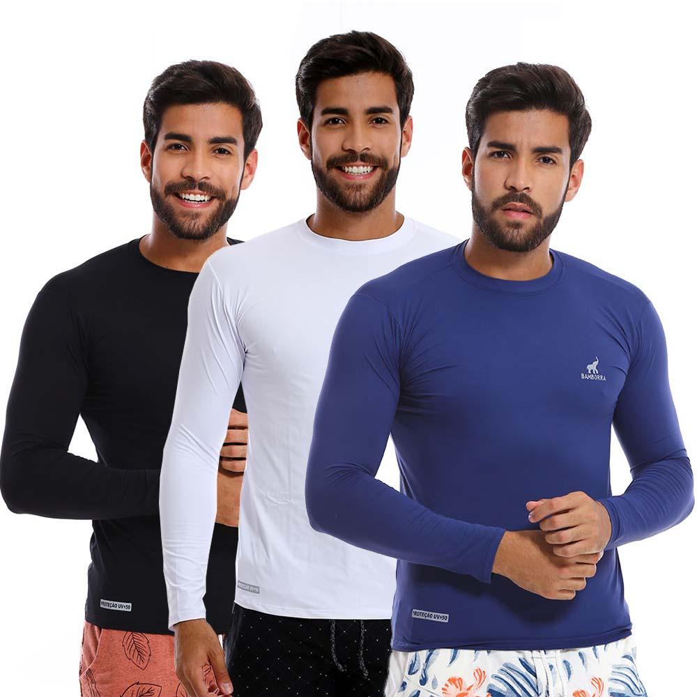 Kit Com 3 Camisas UV Proteção Solar Fator 50+ Bamborra