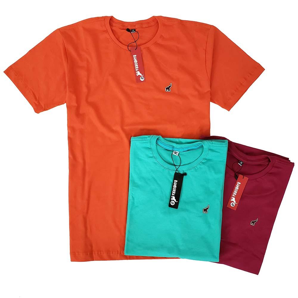 Kit Com 3 Camisetas Básicas Masculinas de Algodão