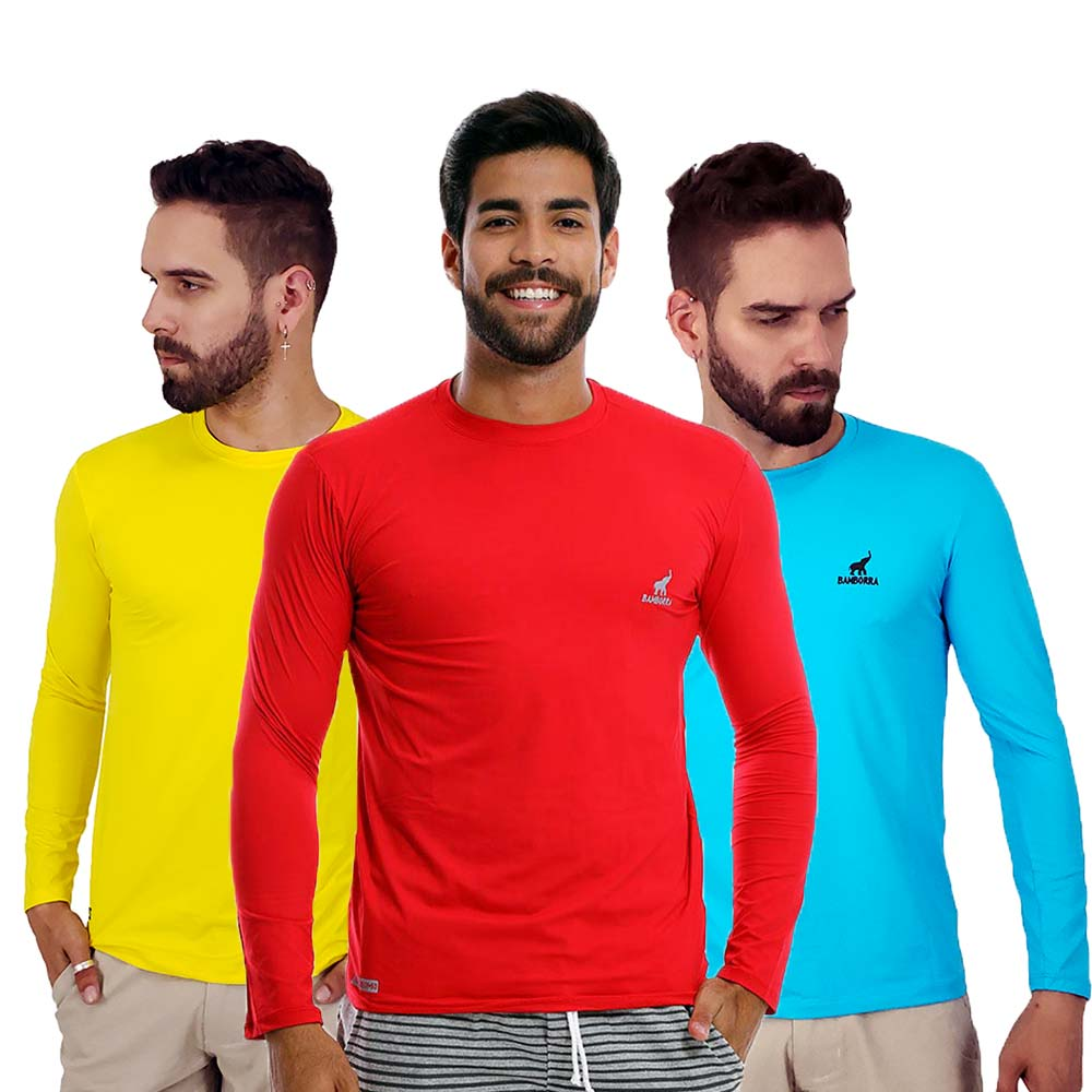 Kit com 3 Camisetas de Proteção Solar UV Fator 50