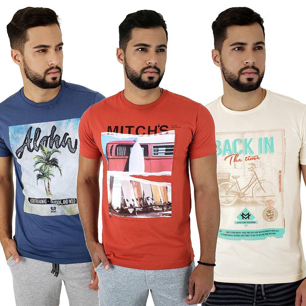 Kit com 3 Camisetas Estampadas Masculinas Mitchs
