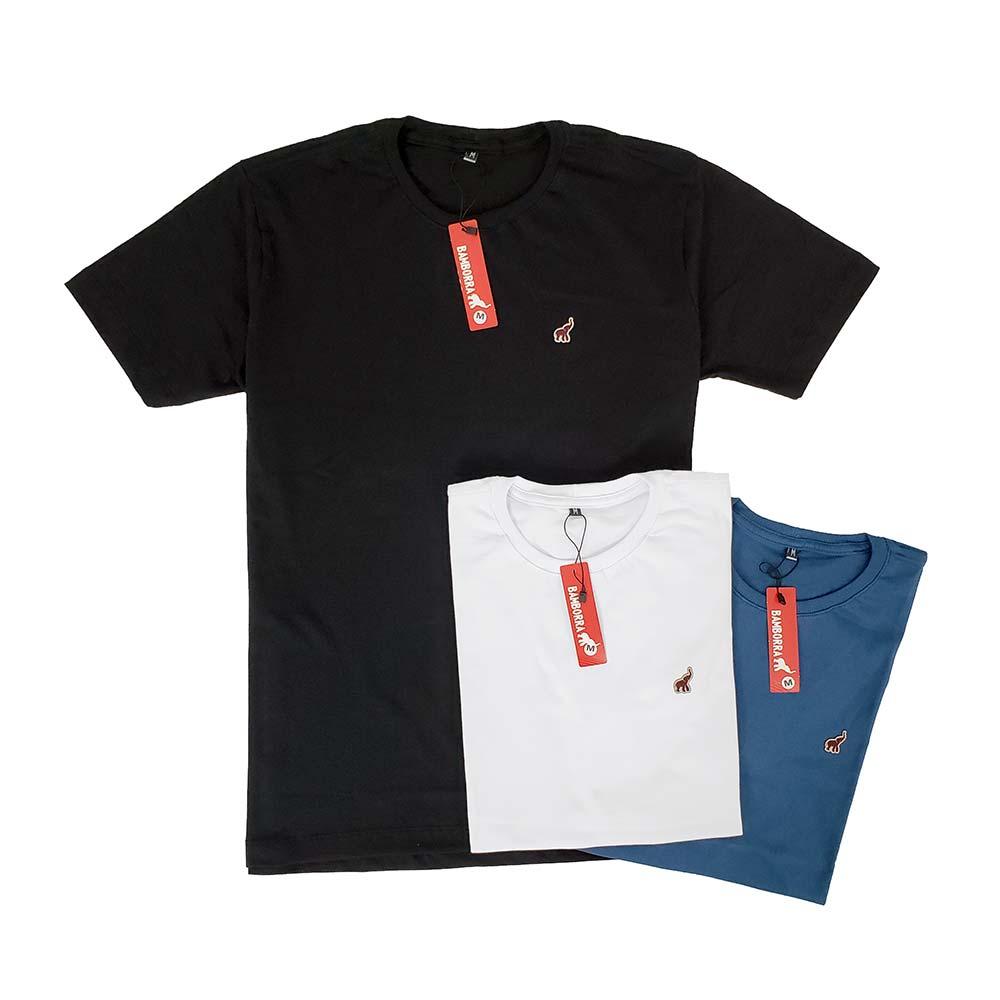 Kit Com 3 Camisetas Masculinas Lisas de Algodão