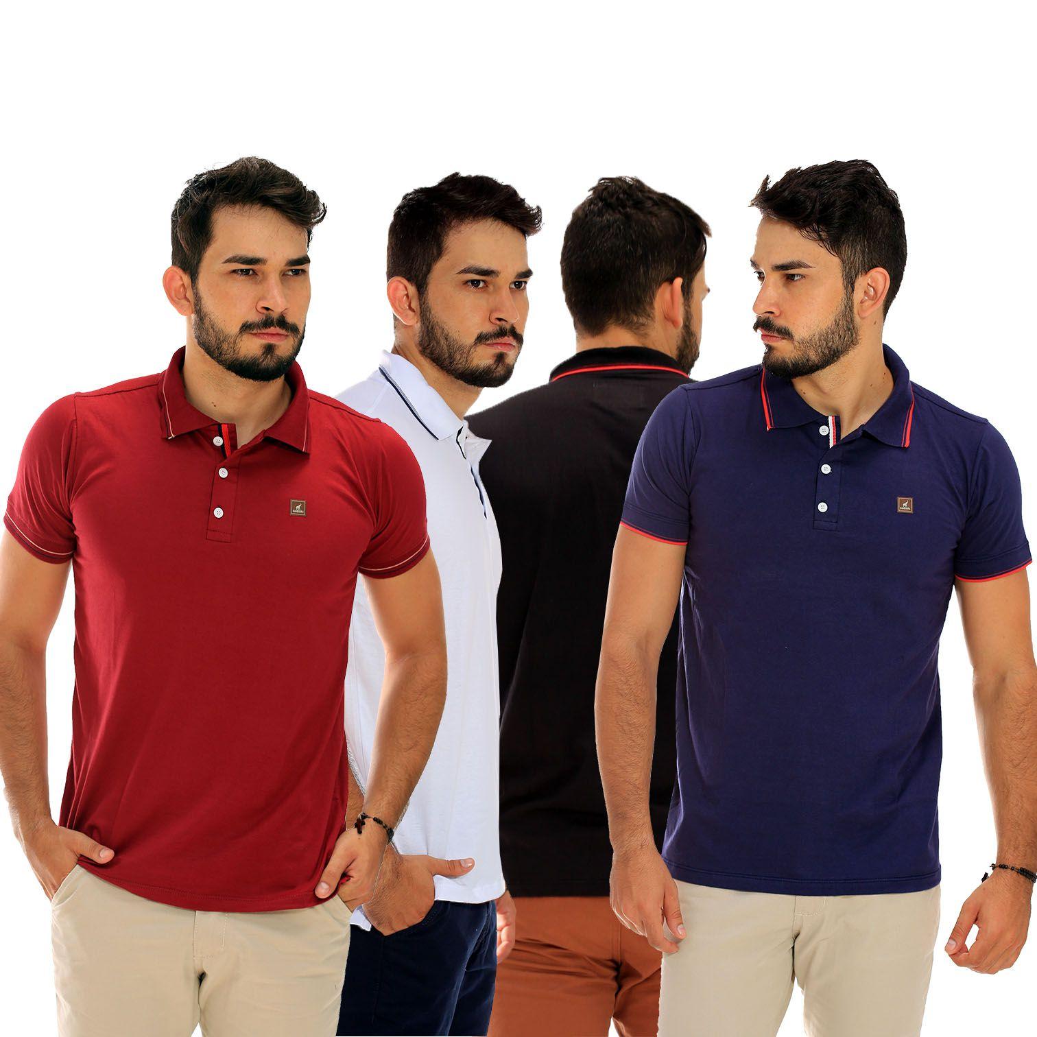 Kit com 4 Camisas Polo Masculinas Básicas Lisas
