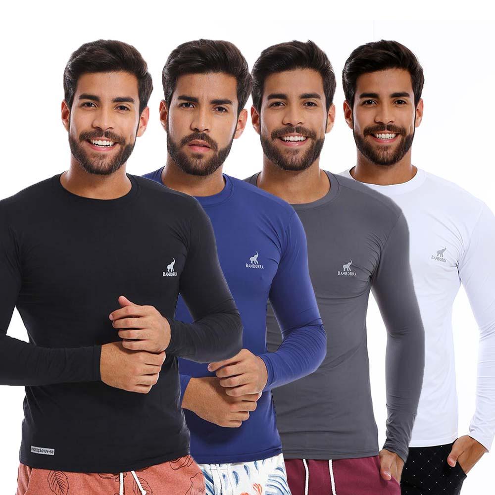 Kit Com 4 Camisas UV Masculinas Com Proteção Solar