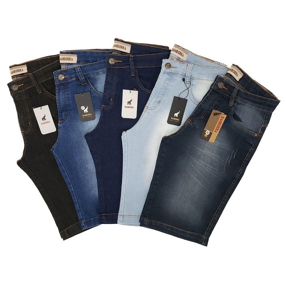 Kit com 5 Bermudas Jeans Masculinas Slim com Lycra