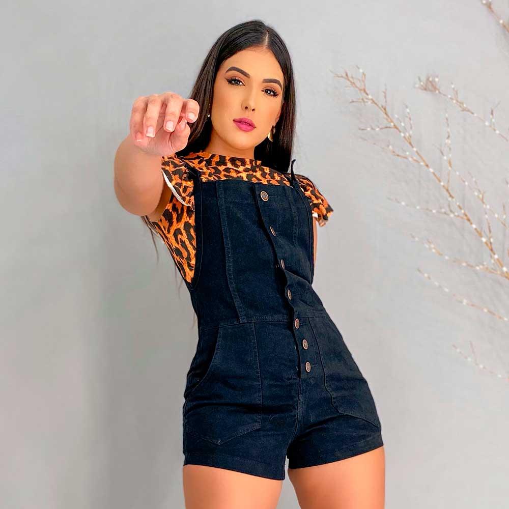 Macaquinho Jeans Preto Feminino Com Botões