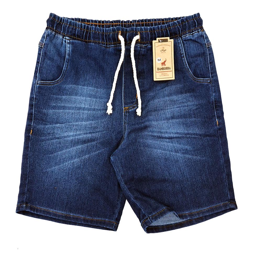Short Jeans Masculino Azul Com Elástico e Cordão Bamborra