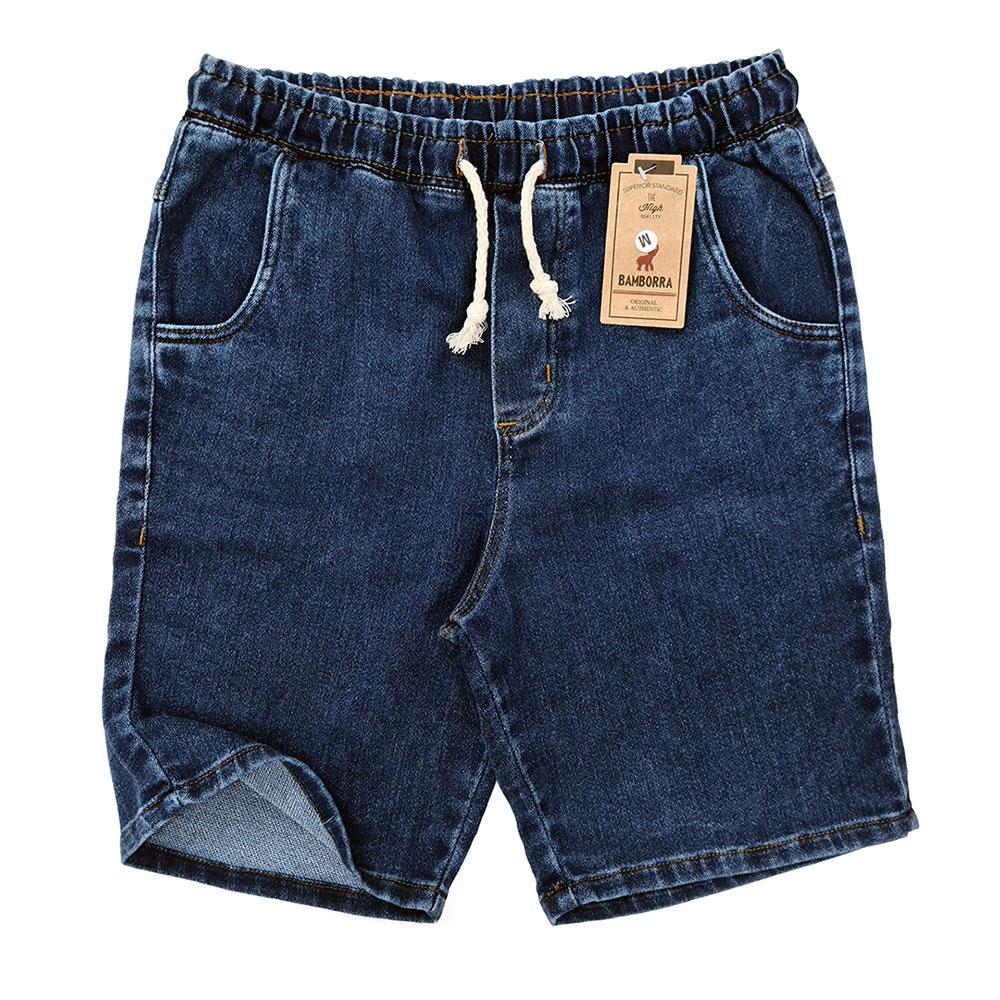 Short Jeans Masculino Com Elástico e Cordão Azul Escuro
