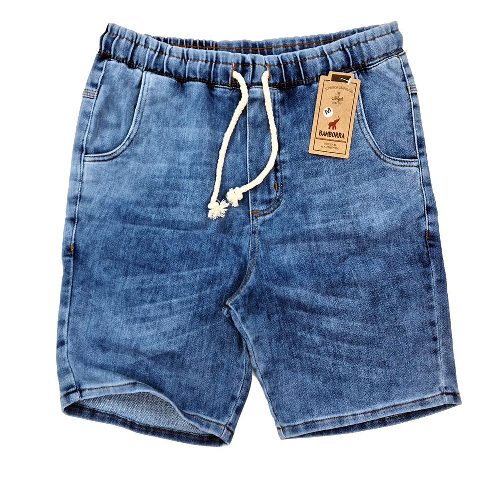 Short Jeans Masculino Com Elástico e Cordão Azul Estonado