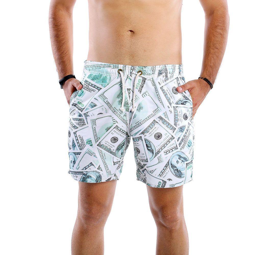 Short Masculino de Tactel Estampado Com Notas de Dólares