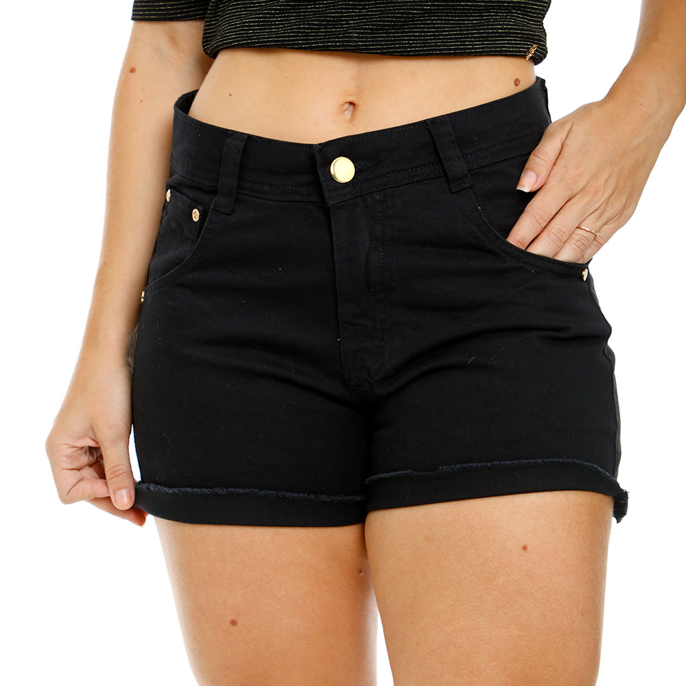 Short Preto Feminino Cintura Alta Desfiado Com Lycra