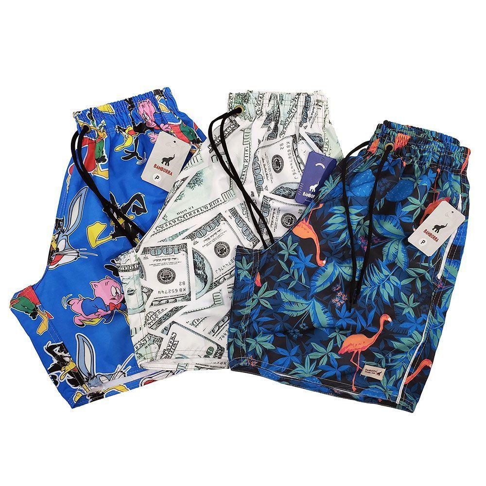 Shorts Praia Masculino de Tactel - Kit com 3 Unidades