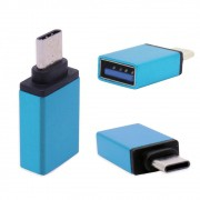 Adaptador Usb C Tipo C  Macho Para Usb 3.0 Fêmea Otg LE-5543 Lelong Mac Pc Celular Tablet Azul