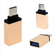 Adaptador Usb C Tipo C  Macho Para Usb 3.0 Fêmea Otg LE-5543 Lelong Mac Pc Celular Tablet Dourado