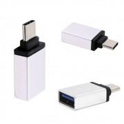 Adaptador Usb C Tipo C  Macho Para Usb 3.0 Fêmea Otg LE-5543 Lelong Mac Pc Celular Tablet Prata