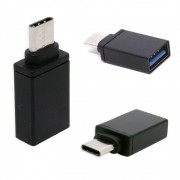 Adaptador Usb C Tipo C  Macho Para Usb 3.0 Fêmea Otg LE-5543 Lelong Mac Pc Celular Tablet Preto