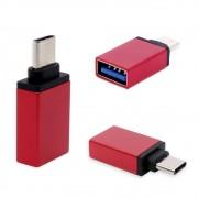 Adaptador Usb C Tipo C  Macho Para Usb 3.0 Fêmea Otg LE-5543 Lelong Mac Pc Celular Tablet Vermelho