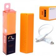 Bateria Portátil Externa Power Bank 2200mAh CB078 Smartogo Multilaser Usb Celular Tablet Laranja