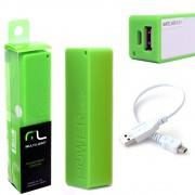 Bateria Portátil Externa Power Bank 2200mAh CB078 Smartogo Multilaser Usb Celular Tablet Verde