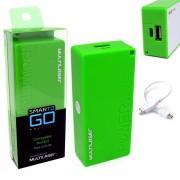 Bateria Portátil Externa Power Bank 4000mAh CB097 Smartogo Multilaser Usb Celular Tablet Verde
