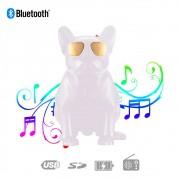 Caixa de Som Bluetooth G29 Bulldog Francês Cachorro Portátil 6w Branca