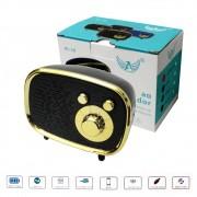Caixa de Som Bluetooth Portátil AL-10 Altomex Bateria Recarregável Retro Mini 5W Preta