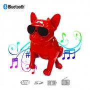 Caixa de Som Bluetooth Z13 Bulldog Francês Cachorro Portátil 10w Fm Vermelha
