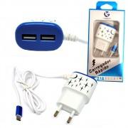Carregador Rápido de Parede V8 2.1A Wumax 2 USB 1.2 Metro Led Estrela Azul