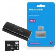 Cartão de Memória Micro SD XC 64GB com Adaptador USB MC164 Multilaser 2 em 1 Classe 10 Pen Drive