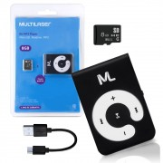 Kit 3 em 1 MP3 Player MC300 Multilaser Micro SD 8GB Pendrive MP3 P2 Clip Cabo Micro USB MC-300