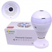 Lâmpada Espiã Câmera Ípega Segurança Led 360 Panorâmica Wifi KP-CA153