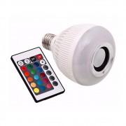 Lâmpada Led Rgb Caixa Som Bluetooth Controle Remoto 2 Em 1 Mp3 Luz Multicolorida