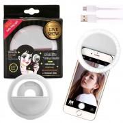Luz de Selfie Ring Light Anel Led Flash Celular Tablet Smartphone Recarregável Branco