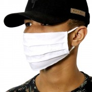 Máscara de Proteção Reutilizável Algodão Respiratória Lavável Tricoline