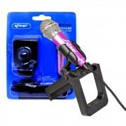 Mini Microfone Estéreo P2 Kp-907 Knup Celular Câmeras Gravador Pc Notebook Rosa
