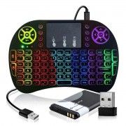 Mini Teclado Wireless Touchpad Led Usb Android Console Tv COM LED