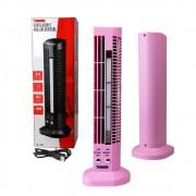 Mini Ventilador e Abajur Base Vertical MLF-002 Tomate USB Torre Led 2 Velocidades Rosa