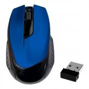 Mouse Óptico Sem Fio 2.4Ghz Wireless 1600Dpi Design Ergonômico Receptor Nano Usb Azul