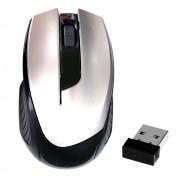 Mouse Óptico Sem Fio 2.4Ghz Wireless 1600Dpi Design Ergonômico Receptor Nano Usb Prata