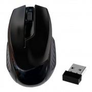 Mouse Óptico Sem Fio 2.4Ghz Wireless 1600Dpi Design Ergonômico Receptor Nano Usb Preto