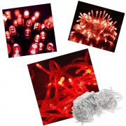 Pisca Pisca 100 Lâmpadas Led 110v 10mt 8 Funções Fio Transparente Natal Enfeite Decoração Vermelho